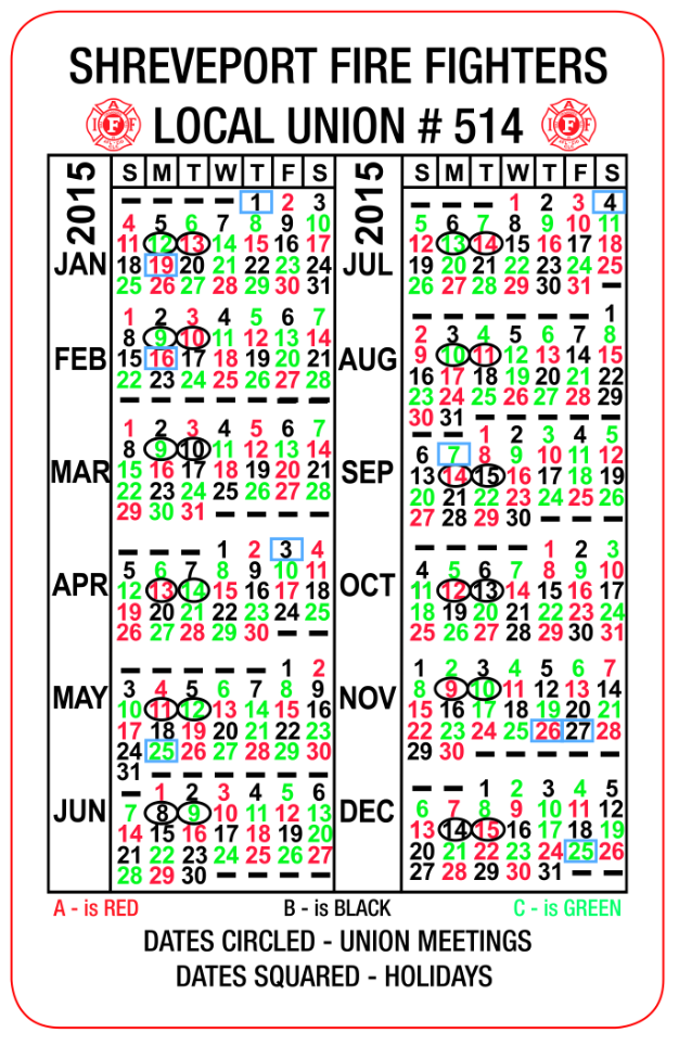 2015 Fire Abc Shift Calendar | New Calendar Template Site